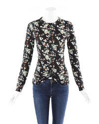 Dior Floral Print Wool Knit Sweater Black/multicolor/floral Print Sz: S