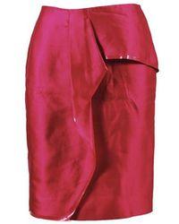 Max Mara Pink Silk Cotton Asymmetric Pencil Skirt