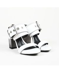 "Barbara Bui ""buckle"" White Leather Sandals"