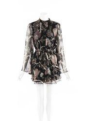 Zimmermann Sheer Floral Silk Romper - Black