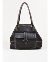 "Loro Piana - Dark Brown Grained Leather Stitch Trim Medium ""globe"" Tote Bag - Lyst"