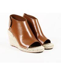 41cc8a93f16 Céline - Brown Leather Wedge Sandals - Lyst