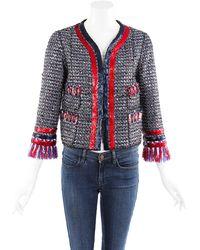 Marc Jacobs Multicolor Tweed Fringe Jacket - Blue