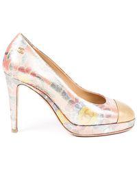 Chanel Floral Brocade Cc Platform Pumps Metallic/multicolor Sz: 5