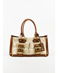 Roberto Cavalli Beige & Brown Canvas & Leather Embossed Top Handle Tote Bag - Multicolour