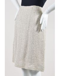 Chanel 99p Cream Woven Tweed Knee Length A Line Skirt - Natural