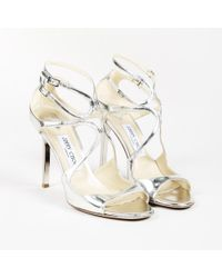 """Jimmy Choo - Mirror Leather """"lang"""" Sandals - Lyst"""