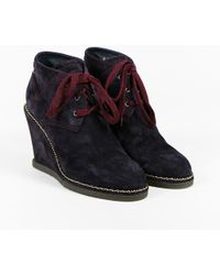 Chanel - $1150 Purple Suede Wedge Heel Lace Up Ankle Boots Sz 39 - Lyst