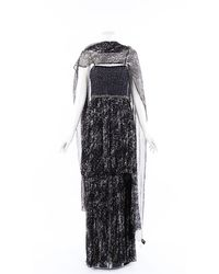 Chanel Tweed Silk Maxi Dress Blue/white Sz: M