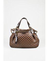 "Louis Vuitton - Brown ""damier Ebene"" Coated Canvas ""evora Gm"" Satchel Bag - Lyst"