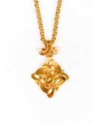 Chanel Vintage Gold Tone Cc Pendant Necklace Gold/logo Sz: - Metallic