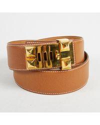 """Hermès - Vintage """"natural"""" Brown """"courchevel"""" Leather Collier De Chien Belt - Lyst"""