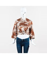 Dries Van Noten - Burnt Orange White Printed Button Up Cropped Jacket - Lyst