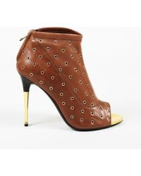Tom Ford - Grommet Embellished Leather Open Toe Booties - Lyst