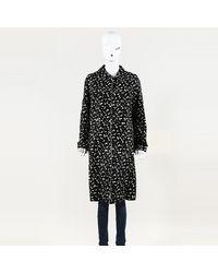 ESCADA Animal Print Calf Hair Knee Length Coat - Black