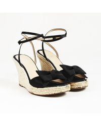 f3bdc7f0b50 Moschino - Cheap And Chic Black Satin Espadrille Bow Sandals - Lyst