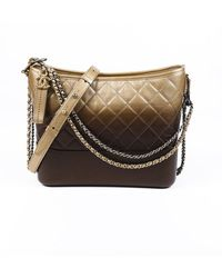 Chanel 2018-2019 Medium Gabrielle Quilted Hobo Bag Brown/gold Sz: S