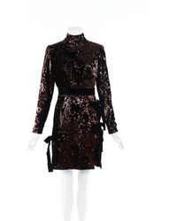 Elie Saab Sequin Velvet Bow Mock Neck Dress Black/brown Sz: S