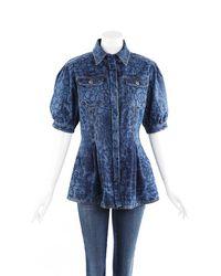Chanel Camellia Floral Denim Pleated Jacket Blue/floral Print Sz: L