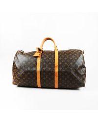 "Louis Vuitton - Vintage Brown Monogram Coated Canvas ""keepall Bandouliere 55"" Bag - Lyst"