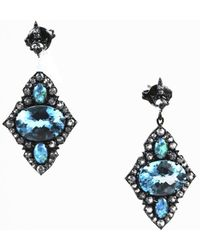 Unbranded - Blue & White Topaz Opal Triplet Sterling Silver Kite Earrings - Lyst