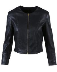 The Row - Blue Leather Zipped Collarless Jacket - Lyst