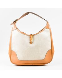 "Hermès - Vintage Beige Tan Box Calf Leather Canvas Gold Hardware ""trim 31"" Bag - Lyst"