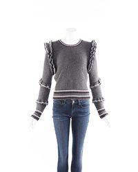 N°21 Chunky Knit Ruffle Sweater - Grey