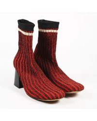 Céline - Red Multicolor Ribbed Knit Sock Booties - Lyst