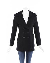 Burberry London Wool Cashmere Double Breasted Coat Black Sz: S