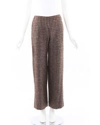 Chanel Boutique Striped Wool Wide Leg Trousers Cream/brown Sz: