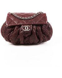 Chanel Medium Chain Around Quilted Leather Bag Purple Sz: M