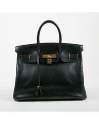 Hermès - Black Box Calf Leather Top Handle Birkin 35 Cm Satchel Bag - Lyst