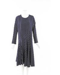 Marni Checked Silk Flared Midi Dress Blue/white/geometric Sz: M