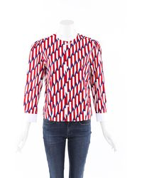Marc Jacobs Printed Cotton Top White/multicolor/geometric Sz: S - Red