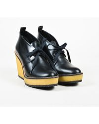 Robert Clergerie - Black & Beige Leather Wedge Ankle Boots - Lyst