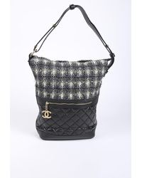 Chanel Casual Style Quilted Tweed Hobo Bag Black/multicolor Sz: M