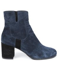 Chanel Suede Block Heel Ankle Boots - Blue