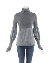 Chanel Cashmere Knit Balloon Sleeve Jumper - Grey