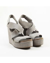 Pedro Garcia - Gray Suede Crossover Wedge Sandals - Lyst