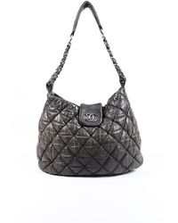 Chanel Large Bubble Quilt Hobo Bag Gray/logo Sz: S - Grey