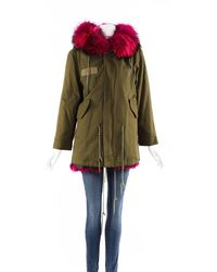 Mr & Mrs Italy Green Cotton Pink Fur Collar Coat