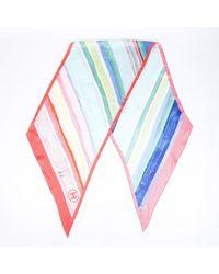 Chanel Striped Silk Scarf - Pink