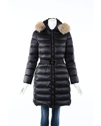 Moncler Tinuviel Down Fur Hooded Belted Puffer Coat - Black