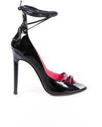 Manolo Blahnik Patent Leather Ankle Tie Pumps Black Sz: 5.5