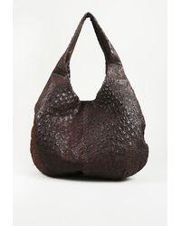 Bottega Veneta Ostrich Leather Hobo Bag Brown Sz: M