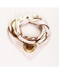 Ralph Lauren - Polo Pink White Silk Scarf - Lyst