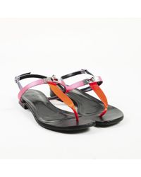 "Hermès - ""olivia"" Multi Satin Leather T-strap Thong Sandals - Lyst"