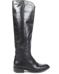Chanel Leather Cc Riding Boots - Black