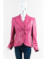 ESCADA - Pink Leather Buttoned Jacket - Lyst
